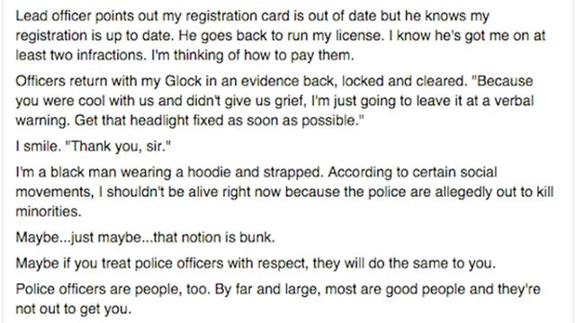 Man Gets Stopped by Police and Shares His Opinion of the Experience
