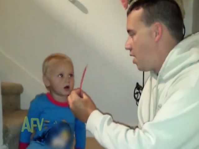 Cute Kid Is Surprised and Confused by a Simple Magic Trick