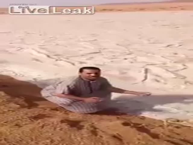 An Icy River of Hail Flows through the Iraq Desert