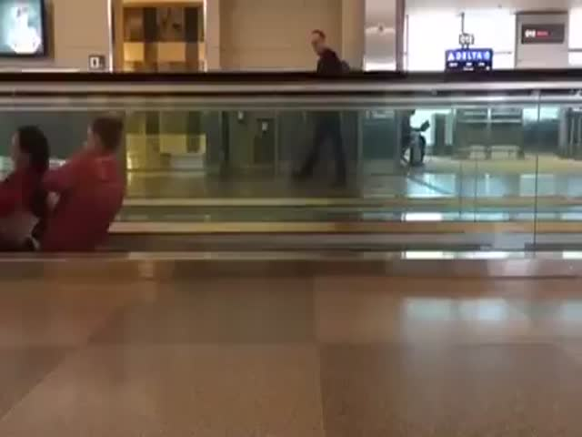 Girls Turn an Escalator into an Opportunity for Fun