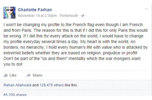 French Woman Refuses to Change Her Profile Photo to Support Paris and Her Reason Will Make You Think Twice