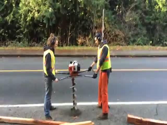 Construction Workers Get Launched by Heavy-Duty Drilling Machine