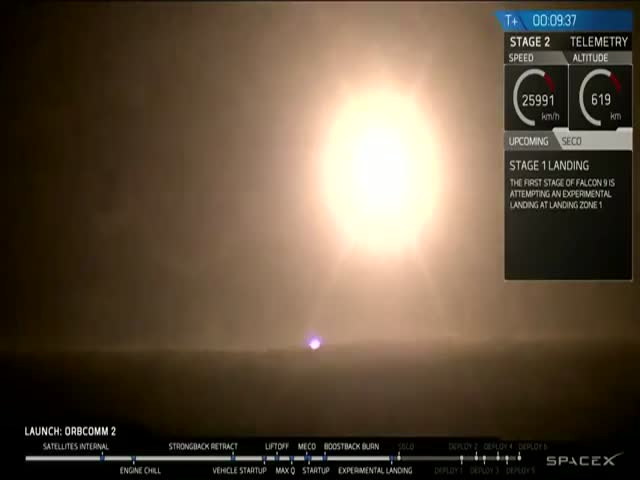 An Awesome First Stage Landing of Falcon 9