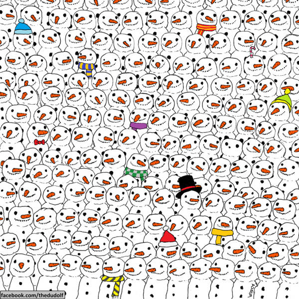 Do You See the Panda Hiding in between the Snowmen?
