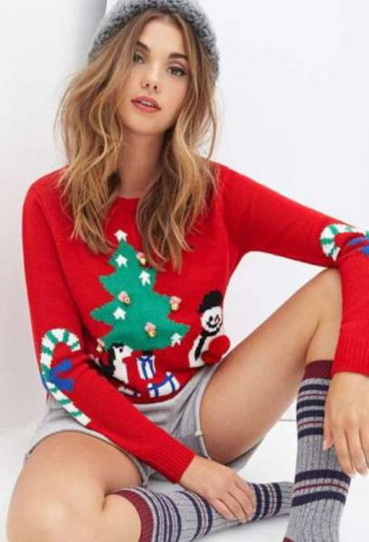 Christmas Sweaters Look Better on Girls as Hot as This