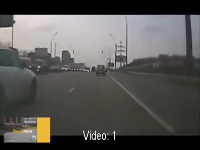 Dude Comes Out of Nowhere in the Middle of a Highway in Russia
