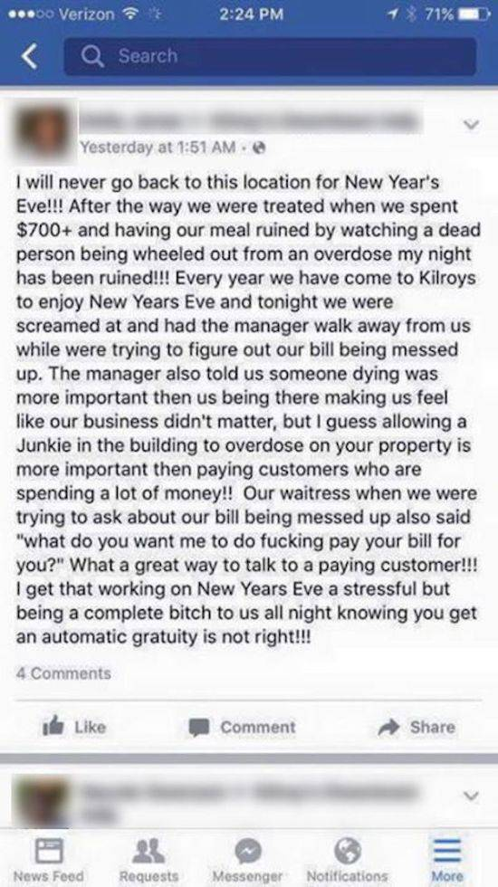 Restaurant Manager Tells One Rude Customer Where to Get Off on Facebook and It's Brilliant!