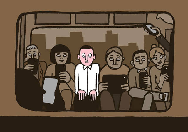 Illustrations That Take a Tongue-in-cheek Look at Technology Addiction in Today's Society