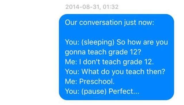 "Wife Records Husband's ""Sleeptaking"" and Then Texts It to Him and It's Hilarious to Read"
