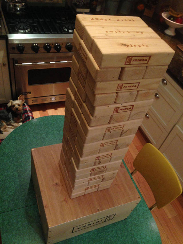 "Dude Builds His Own Customized ""Drinking Jenga"" from Scratch"