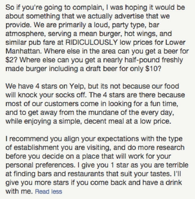 Great Comeback of a Bar Owner to an Unhappy Customer