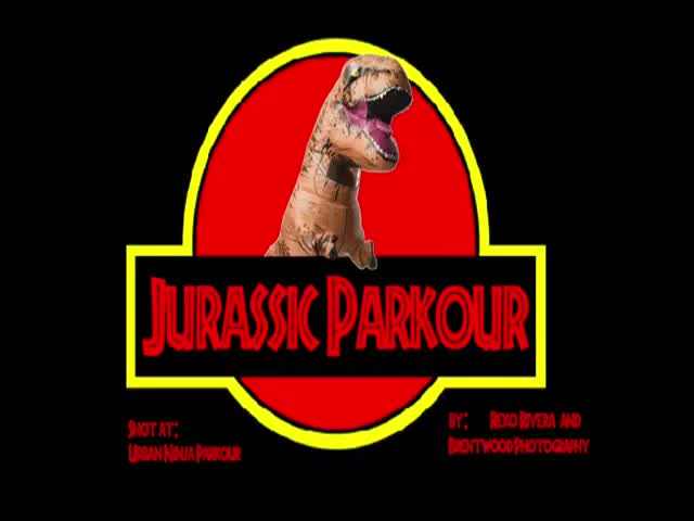 Funny Jurassic Parkour Video Of A Guy In A T-Rex Costume