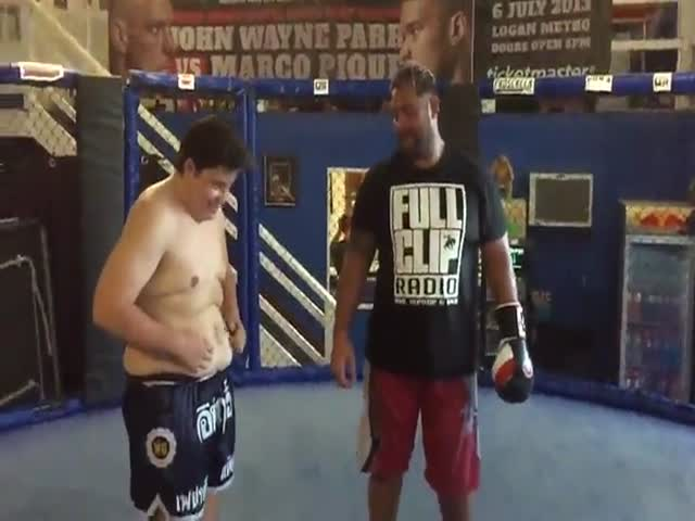Kid Gets Punched in the Stomach by a UFC fighter
