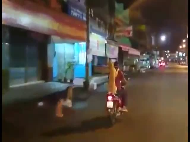 Guy's Dog Holds An Umbrella While They Are Both Riding On Scooter