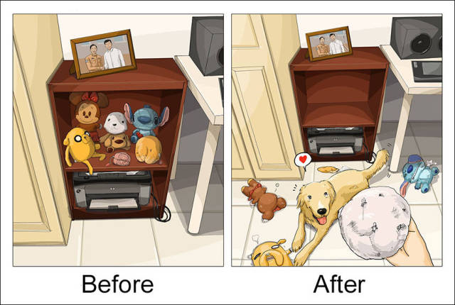 An Amusing Illustrated Comparison of Life Before and After Owning a Dog