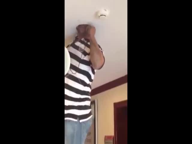 Electrician Can't Get His Head Out Of a Hole in The Ceiling
