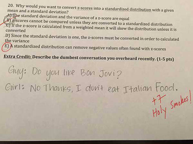 College Professor Asks Awesome Extra Credit Questions On An Exam