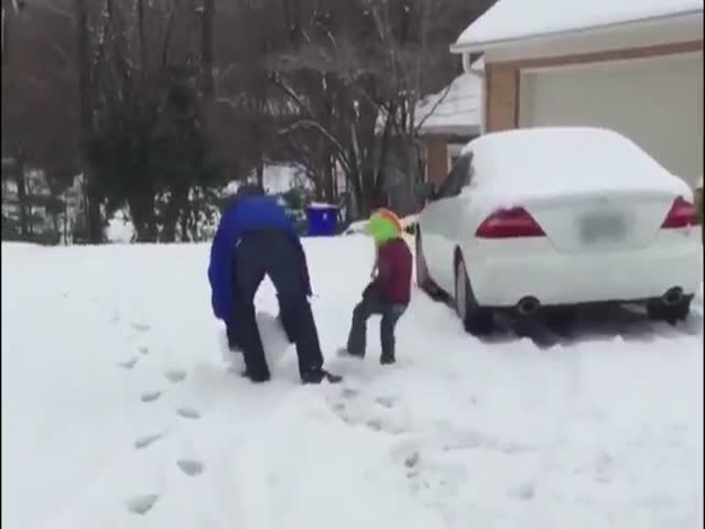 Dad Went A Little Too Far In A Snowball Fight