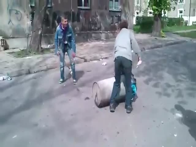 Polish Guys Test Their Trashcan Cannon