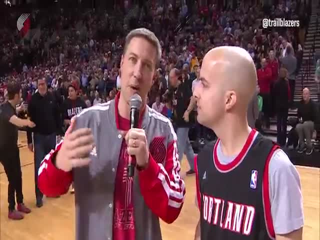 Basketball Fan Throws A Half Court Shot To Win A New Car