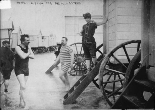Beachside Bathing Machines During Victorian Era