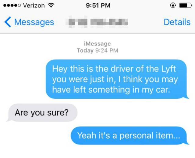 """Lyft Driver Got Lucky After A Girl Forgot A """"Personal Item"""" In His Car"""