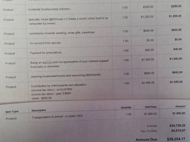 Mother Sends An Invoice To Her Son For Being An A**hole