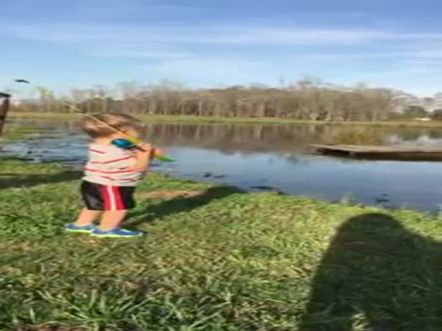 Little Boy Catches His First Fish And The Whole Scene Is Adorable