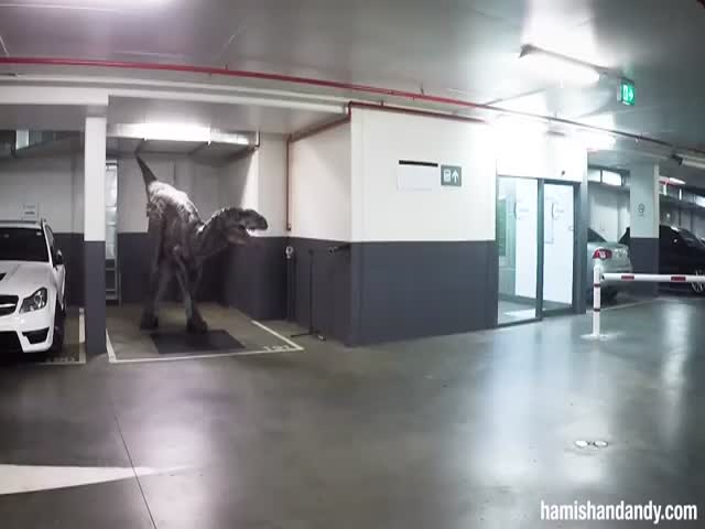 Co-workers Being Scared With Dinosaur Prank On A Underground Parking Garage