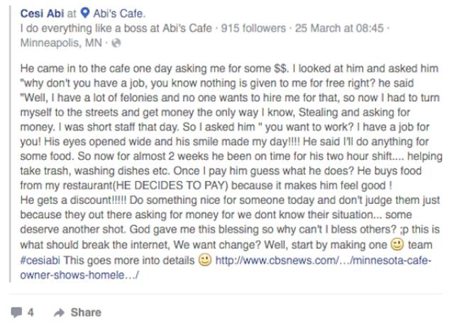 A Homeless Man Entered A Cafe To Beg For Food, Got More Than He Bargained For