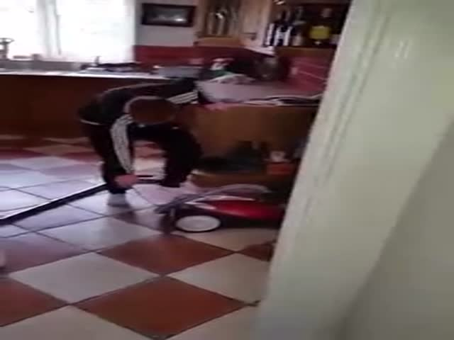 Dad Is Trolling Son On How To Turn On A Vacuum