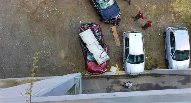 A Concrete Block Fell On Audi