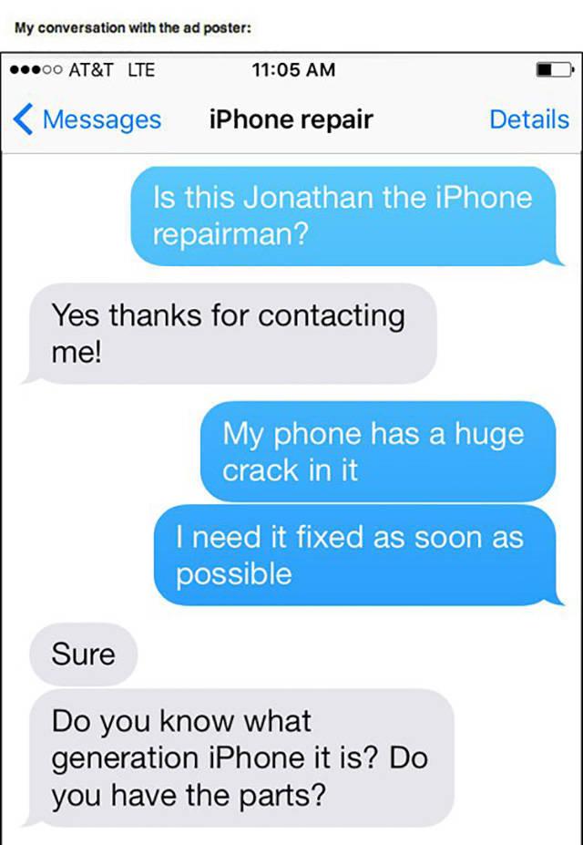 Fantastic Trolling Of An iPhone Repairman