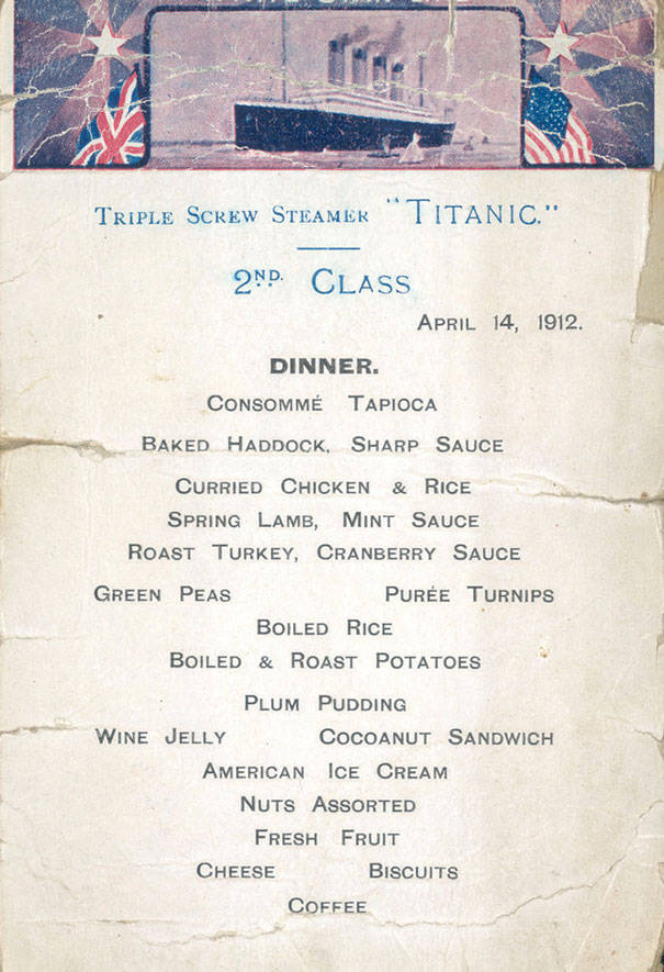 The Titanic Menus For The 1st, 2d And 3d Class Passengers
