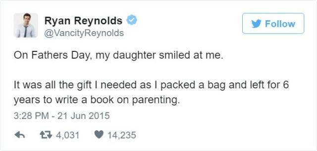 Ryan Reynolds Posts Hilarious Tweets About His Parenting Experience With His Daughter