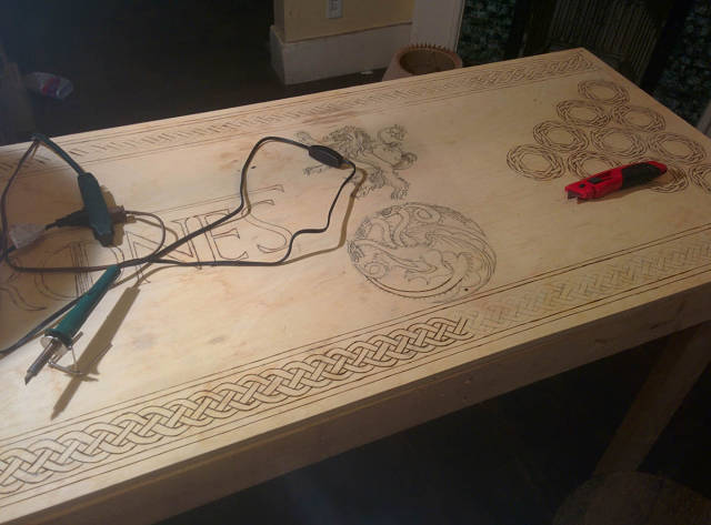 "Handmade ""Game Of Thrones"" Themed Beer Pong Table"