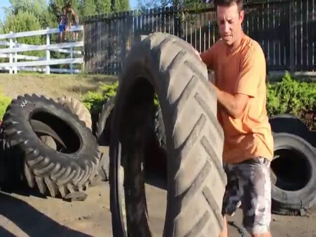 Man Hula Hooped A 120 Pound Tractor Trailer Tire
