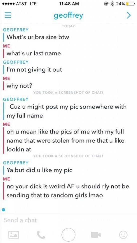 Guy Sends His Unsolicited Nudes To A Girl And Gets Owned Hard