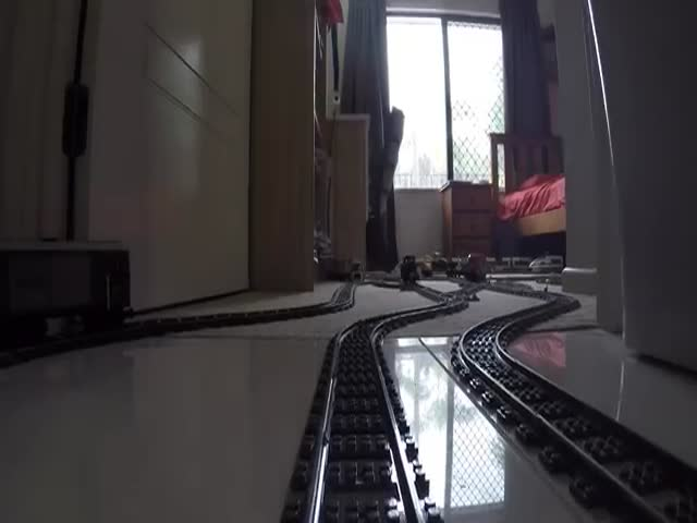 Amazing  Lego Train Set Going Through The House And The Garden