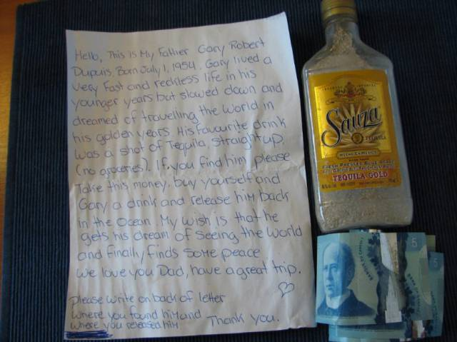 A Man Finds A Bottle With Ashes, A Note And Some Cash