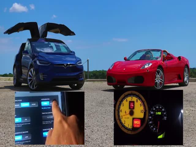 Tesla Model X P90D Ludicrous vs Ferrari F430