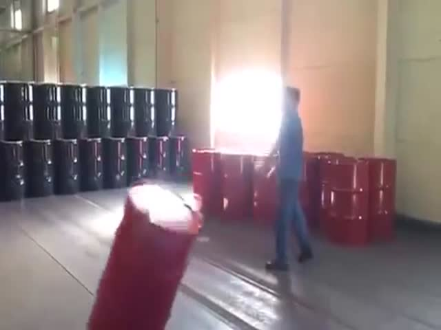 Guy Moves Barrels Like A Boss