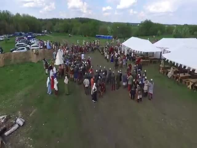 A Drone Gets Speared At A Medieval Festival In Russia