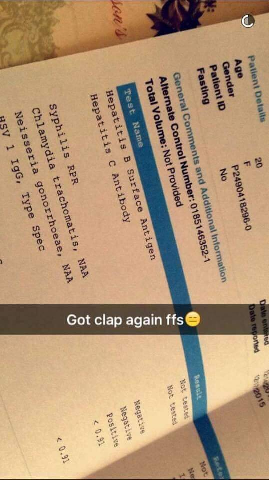 Girl Posts On Snapchat Her STD Results To Warn Everyone Who Has Just Recently Had Sex With Her