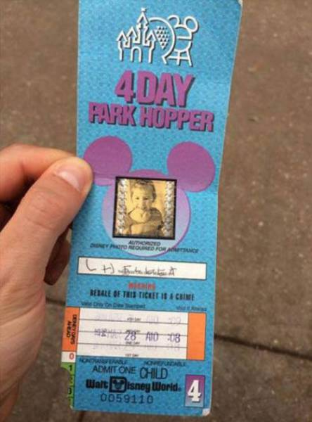 Girl Uses Her 22 Year Old Disney Ticket To See If It Still Works