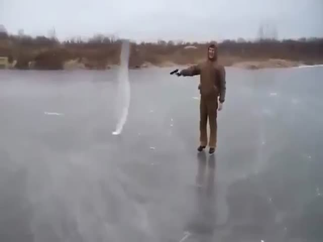 Here's What Happens With A bullet When You Shoot At A Frozen Pond