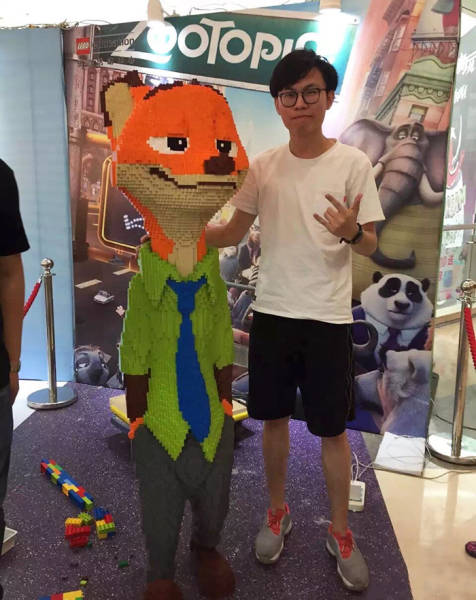 Artist Spends 3 Days Erecting A Life-Size Lego Statue Just To Be Ruined In Seconds...