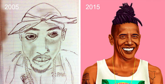 Before And After Drawings That Show Remarkable Progress Of Artists Over The Years