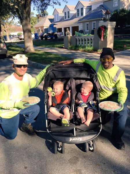 Cute Story About 2-Year-Old Triplets Who Became Friends With Their Local Garbage Collectors