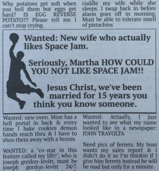 These Fake Want Ads From Community Newspaper Will Crack You Up